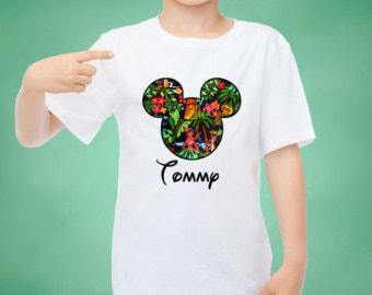 Personalized Mickey Hawaiian Printable Iron On Design custom design, Disney iron on, Hawaii Luau Shirt, Aluani Resort, Tiki Mickey Mouse