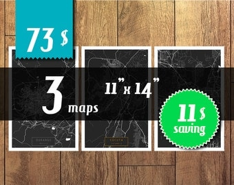 SALE! 3 maps 11''x14'' size - 11 dollars saving! Great deal -SAVE 11 dollars - get 3 maps with discount!