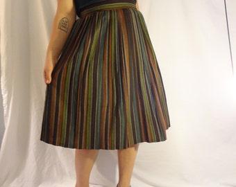 Striped Wool Pleated Skirt