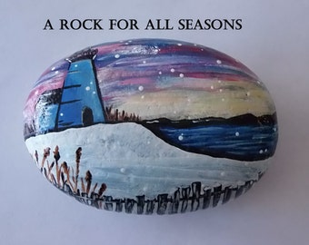 hand painted rock, painted stone, winter, landscape, lighthouse, home decor