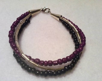 Black,Purple,Silver Twist Bracelet