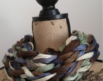 Knit Browns & Blues Infinity Cowl Scarf