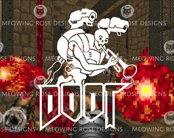 DOOT DOOM  vinyl decal for laptops, car windows, water bottles, just about anywhere!
