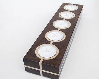 Black Walnut and Maple wood tea light holder