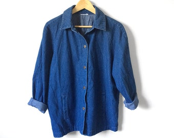 Vintage 1990's, Oversized, Lightweight, Relaxed-Fit, Button-down, Drop-Shoulder, Denim Collared Jacket w/Pockets