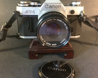 Canon AT-1 35mm SLR Film Camera + FD f/1.8 Lens + Wide Angle Lens - Very Good Condition