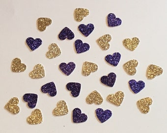 200 Purple and Gold Heart Confetti Heart Confetti Glitter Confetti Shower Confetti Baby Confetti Wedding Confetti Bachelorette Party