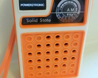 Vintage 1980s Power Tronic Orange AM Radio
