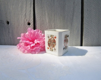 Game night toothpick holder, card themed toothpick holder, desk organizer king of diamonds, king of spades king of hearts antique game decor