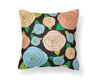 Throw Pillow Flower, Decroative Pillow, Rose Pillow, black pillow, gold pillow, pink pillow, blue pillow