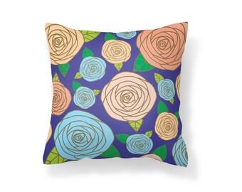 Throw Pillow Flower, Decroative Pillow, Rose Pillow, Purple pillow, gold pillow, pink pillow, blue pillow