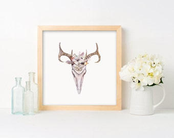 Animal Skull with Flowers and Feathers Framed Print - Black Frame, White Frame, Natural Frame - 12 x 12 inches, 16 x 16 inches