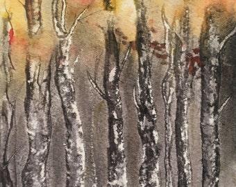 Into the Trees, Miniature Watercolour Painting, Original Artwork