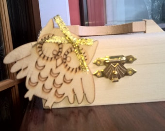 Cute Owl Wooden Chest