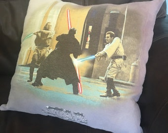 Vintage Star Wars upcycled tshirt throw pillow
