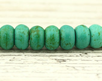 6 mm * 10 mm Dark green turquoise beads, turquoise jewelry, turquoise necklace, 64 beads for a listing, wholesale, B 031