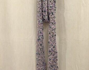 Lilac Shimmer Crochet Skinny Scarf