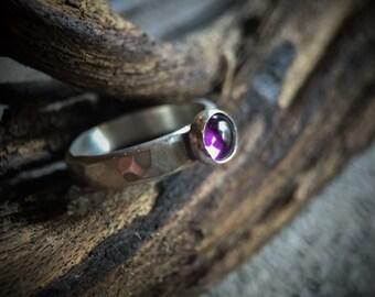 Handmade sterling silver hammered amethyst ring