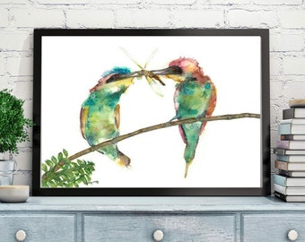 Bee eater watercolor painting, Bird painting, Bird watercolor, Colourful birds, A pair of birds, Couple of  birds, Watercolor painting, Bird