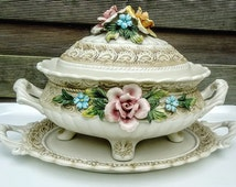 Antique Capodimonte Italy Soup Tureen Covered Dish Floral Decor