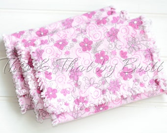 Baby Flannel Burp Cloth // Ragged Edge Burp Cloth //  Set of 3 // Pink Flower Elephant