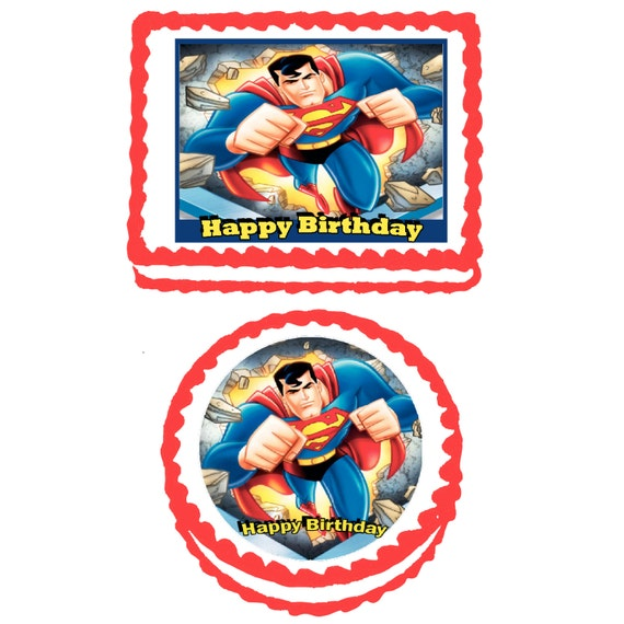 Superman Edible Cake Images : Superman Edible Cake Cupcake or Cookie Topper by ...