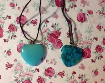 Anazonite heart pendant