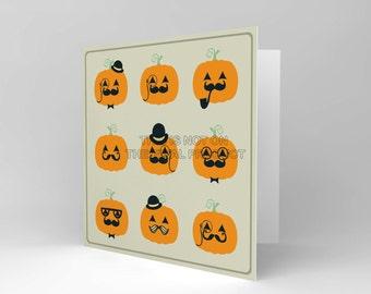 Halloween Card - Pumpkin Gentleman Greetings Card Art Blank  CS358