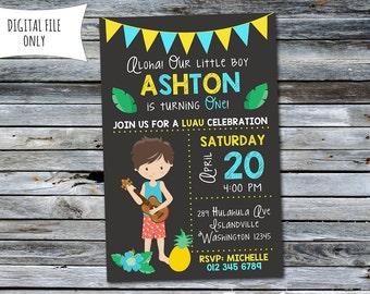 Boys Luau Invitation / Luau Birthday Invitation (Personalized) Digital Printable File
