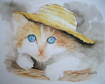 Kitten in his head under a hat rack