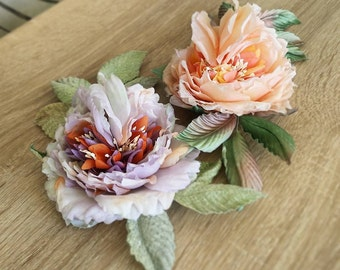 ld English silk rose brooch - hat accessories - dress hair accessories - silk corsage flower - handmade silk flowers - boho flower jewelry