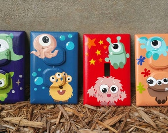 SET OF 4: Little Monsters Light Switch & Outlet Covers with Child Safety Plugs / Nursery, Playroom, Child's Room / Hand Painted Acrylic