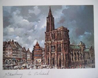 Strasbourg Cathedral - Original Print Made In France