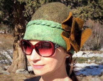 Designer Felted Hat Green with brown flower, Platts
