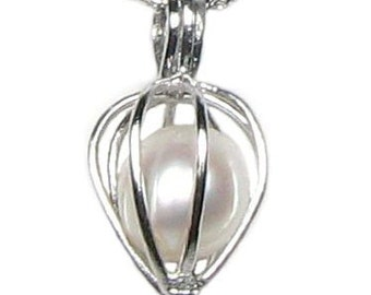 White pearl pendant, wish pearl heart cage real pearl pendant, sterling 925 silver freshwater pearl jewelry, pearl pendant necklace F1995-P