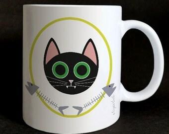 "Mug ""Les grozeuil"" Arabella the cat."
