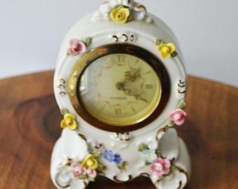 Dresden Mercedes Miniature Clock, 1930's Ceramic Clock, Vintage Clock, Mantel Clock