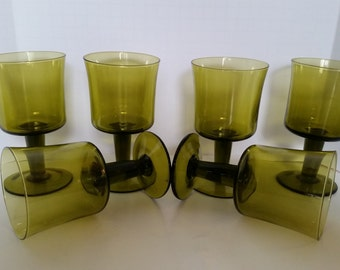 Set of 6 Vintage Olive Green Wine Goblets