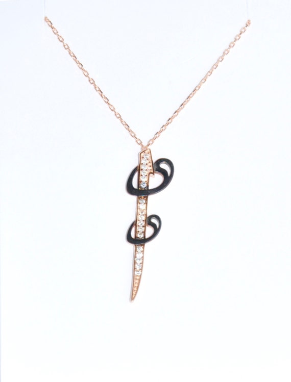Arabic letter necklace silver rose gold sterling silver for Arabic letter necklace