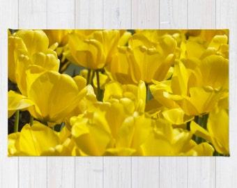 Yellow Rug, Floral Kitchen Rug, Yellow Tulips Rug, Woven Area Rug, Throw