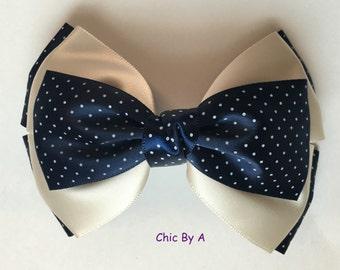 Large Navy Blue Hair Bow,Large Polka Dots Hair Bow,Vintage Hair bow,Elegant Hair Bow,Hair Bows,Baby,Toddler,Girl Bows