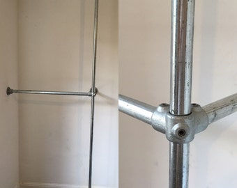 Industrial clothes rail - Industrial, galvanised, steel, metal pipe, clothes stand, rack, display rail, Custom made to your measurements