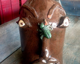 Handmade Folk Art Face Jug