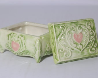 Ceramic Trinket Box / Vintage Hand Painted Jewelry Box, Toiled Green Glaze and Pink Heart by Duncan Enterprises 1977