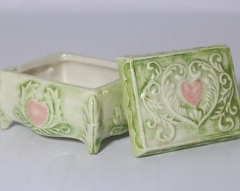 Ceramic Trinket Box, Vintage Hand Painted Jewelry Box, Toiled Scrolled, Green and Pink Heart, Wedding Ring Box, Duncan Enterprises 1977