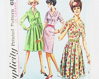 60s Day Dress Pattern | Simplicity 5877 Dress with Two Skirts Pattern | 60s Dress Pattern