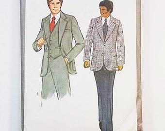 70s Mens Suit Pattern   Simplicity 8493 Jacket Vest Pants Pattern Size 40   70s Sewing Pattern