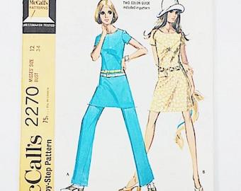 70s Mod Dress Pattern | McCalls 2270 Misses Dress and Pants Pattern | 70s Sewing Pattern