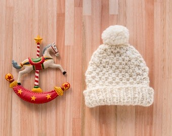 Hand Knitted Merino Kids Beanie // Neutral Merino Wool Kids Beanie // Kids Beanie With Pom Pom // Chunky Knit Hats // Merino Wool Kids Hat