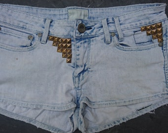 Bleached Denim Shorts Cutoffs Studs Studded Customised Low Rise Size Small